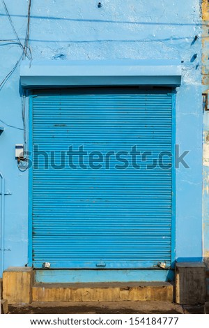 closed shops in Jaipur, India. For Hindi people, Friday is the holy day of rest. - stock photo
