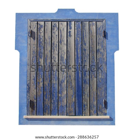 closed shutter with peeling blue paint - stock photo