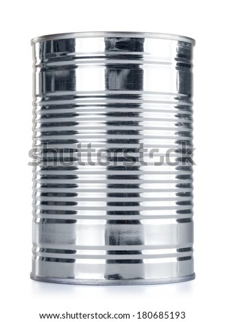 closed tincan, isolated on white, front view - stock photo