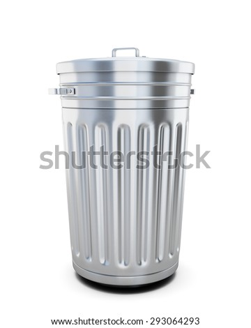 Closed trash can isolated on white background. 3d illustration. - stock photo