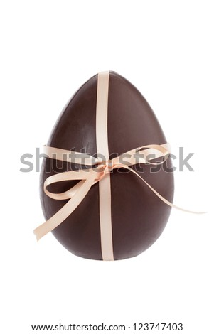 Closed up image of a chocolate egg tied with a glossy ribbon separated in a white background - stock photo