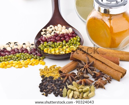 Closed up of beans and spices in decorated. - stock photo