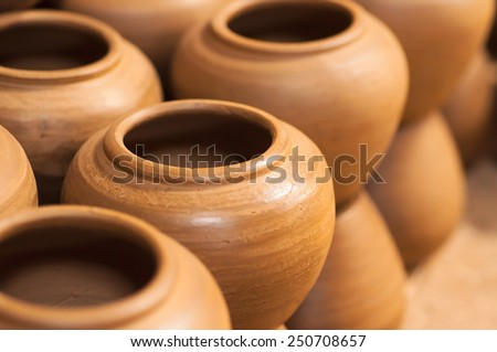Closed up of clay pot. - stock photo