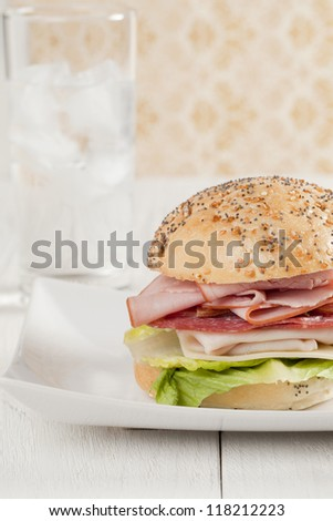 Closed up yummy serving of ham sandwich - stock photo