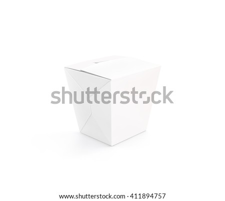 Closed white blank wok box mockup stand isolated, 3d rendering. Empty clear noodle carton box mock up. Asian take away food paper bag template. Chinese meal container  packaging. Rice, udon, pasta - stock photo