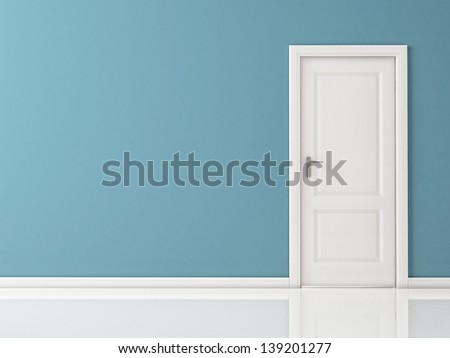 Closed White Door on Blue Wall,  Reflective Floor - stock photo