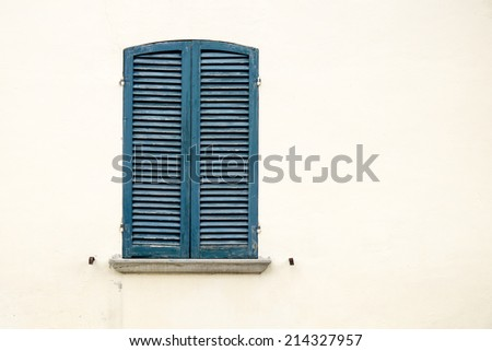Closed Window isolated on wall background - stock photo