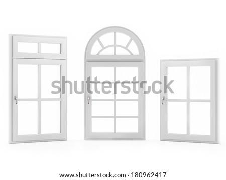 Closed Windows on White Background - stock photo