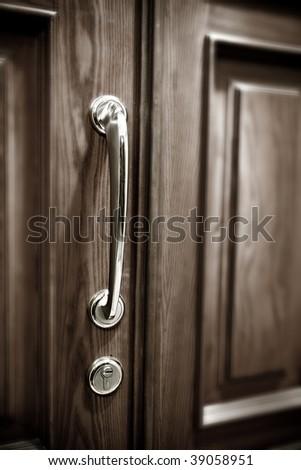 Closed wooden Door - stock photo