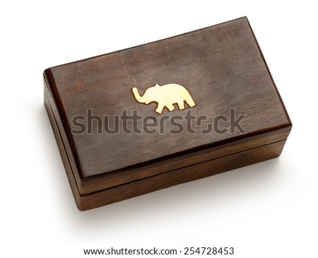 Closed wooden square box on white background  - stock photo