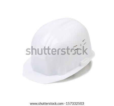 Closep of white hard hat. Isolated on white background. - stock photo