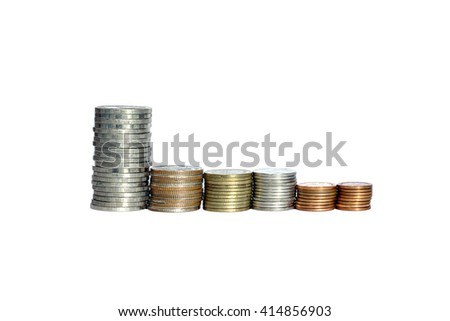 Closeup a stack of coins of Thailand money isolated on white background. - stock photo