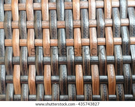 closeup a woven rattan with natural pattern - stock photo