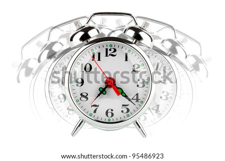 Closeup Alarm clock on the white background - stock photo