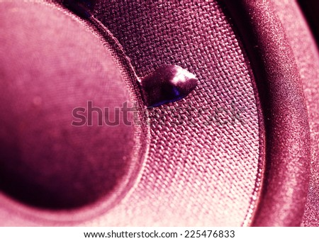Closeup at moving sub-woofer - stock photo