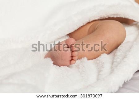 closeup baby foot - stock photo