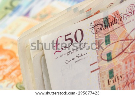 closeup Banknotes of the pound sterling - stock photo