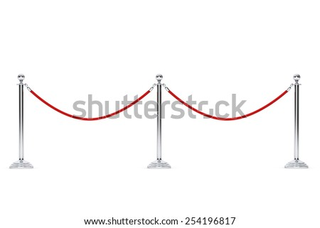 Closeup Barrier rope on a white background - stock photo