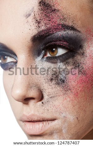 closeup beautiful female face with art makeup - stock photo