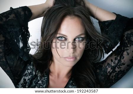 Closeup - Beautiful female model face - Beauty - Portrait - stock photo