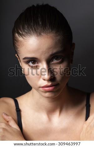 closeup beautiful woman fashion portrait, head and shoulders - stock photo