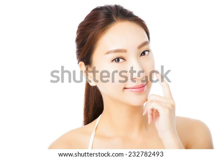 closeup beautiful young asian woman face isolated on white - stock photo