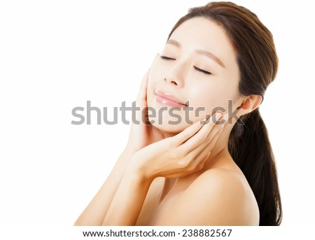 closeup beautiful young  woman face isolated on white - stock photo