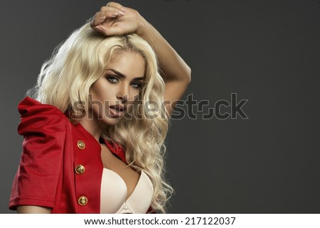 Closeup beauty portrait of young brunette woman with curly hair  - stock photo