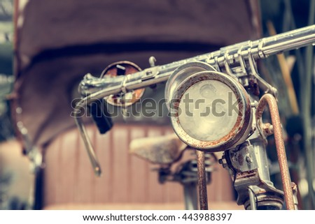closeup  Bike Front-light of Tricycle bicycle taxi - stock photo