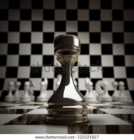 closeup Black chess rook background 3d illustration. high resolution - stock photo