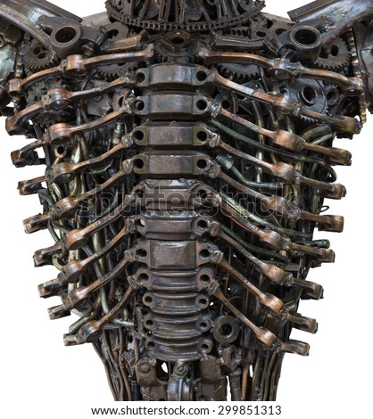 Closeup Body of metallic robot made from auto parts with machinery gears bolts and nuts isolated on white background with clipping paths - stock photo