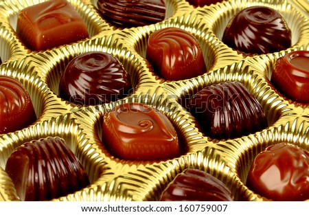 Closeup brown chocolate candy background  - stock photo