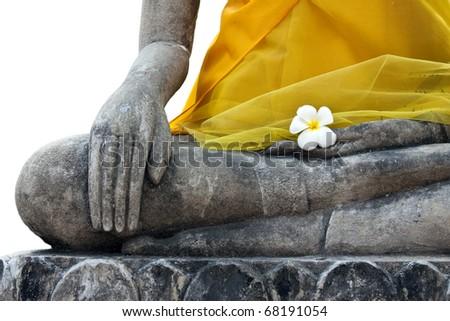 Closeup buddha image, Attitude of the Buddha, The attitude of subduing Mara, isolated on white background - stock photo