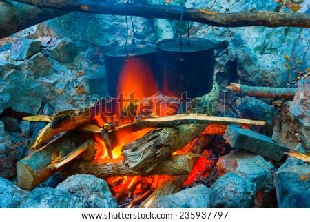 closeup camp-fire - stock photo