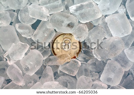 closeup  can in ice - stock photo