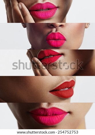 closeup collage of a woman with a bright lips - stock photo