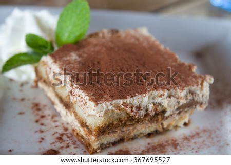 Closeup color photo of delicious Italian dessert called tiramisu, made with mascarpone cheese, coffee and covered with cocoa. - stock photo