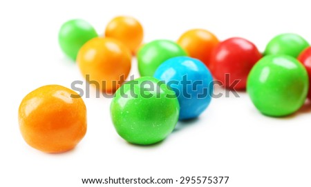 Closeup colorful candies on white background - stock photo