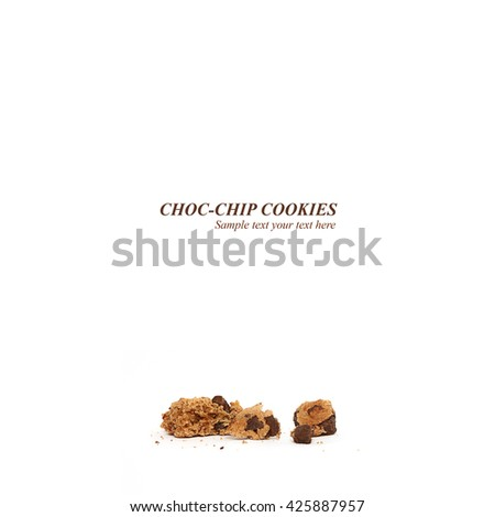 Closeup cookie crumbs. Isolated choc-chip placeholder text over partially eaten chocolate chip cookie crumbs on white background - stock photo