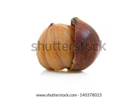 closeup cracked roasted chestnut on white background - stock photo