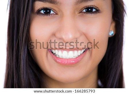 Closeup cropped portrait of a beautiful young smiling happy friendly woman, isolated on a white background. Positive emotions, facial expressions, feelings. Dental health, hygiene - stock photo