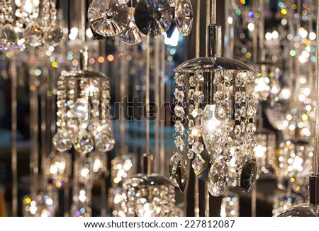 Closeup Crystal chandelier  - stock photo