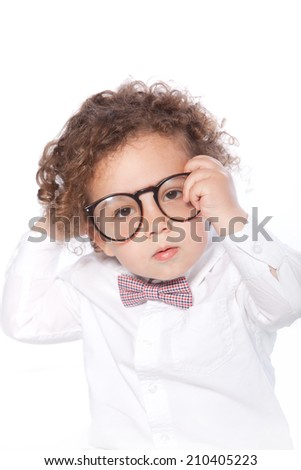 Closeup Cute Baby Wearing Round Eye Glasses, Isolated on White Background. - stock photo