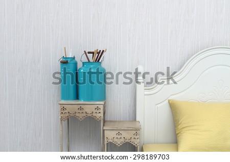 Closeup decorate paint brush in Luxury Interior bedroom - stock photo