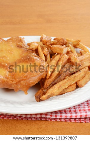 closeup deep fried fish and chips - stock photo