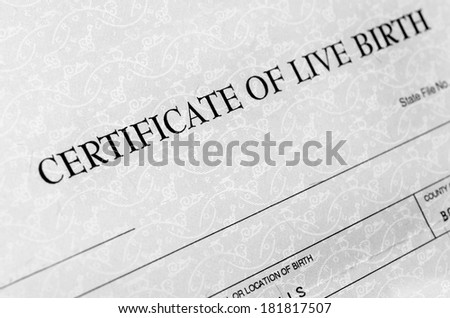 Closeup detail of birth certificate form to be filled out when baby is born - stock photo