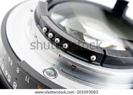 closeup details of camera lens, Lens contacts - stock photo