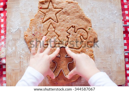 Closeup dough for gingerbread cookies for Christmas at home kitchen - stock photo