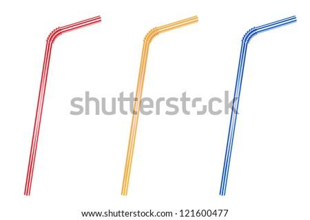 Closeup Drinking straws set on a white background - stock photo