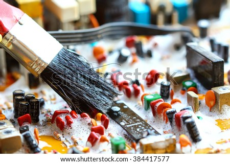 Closeup electronic circuit board background,cleaning - stock photo
